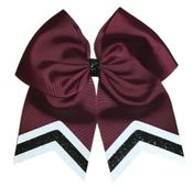 New Uniform Maroon with White and Black Glitter Tips