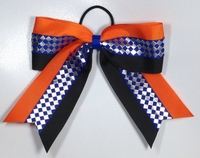 Orange Black and Royal Blue with Silver Foil Hair Bow