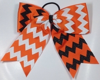 Orange with Glitter Black and White Sport Hair Bow