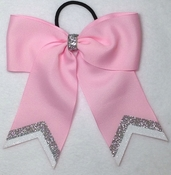 Small Pink With Silver and White Glitter Tip Sport Hair Bow