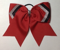 Red with Black and Silver glitter Ears Sport Hair. Bow