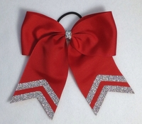 6.5 Inch Red with Glitter Tails Sport Hair Bow