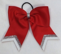 Red With Silver and White Glitter Tip Sport Bow