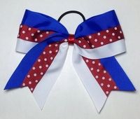 Royal White with Scarlet Red Polka Dot Sport Bow