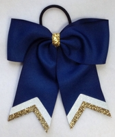 Small 5.5 inch Navy White and Old Gold Glitter Tip