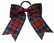 Small 5.5 Inch Red White and Blue Plaid Softball Bow