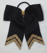 Small Black with Old Gold Glitter Strips Sport Hair Bow