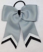 Small Gray with White and Black Glitter Tip