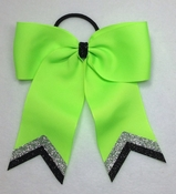 Small Lime Green with Silver and Black Glitter Tips