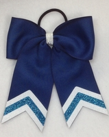 Small Navy and Turquoise Glitter Tip Sport Hair Bow