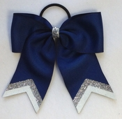 Small Navy with Silver White  Glitter Tip Sport Hair Bow