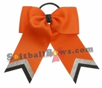 Small Orange with Silver Black Glitter Tip Sport Bow