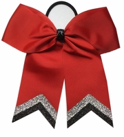 Small Red With Silver Black Glitter Tip Sport Hair Bow