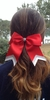 Small Red with Silver White Glitter Tip Sport Hair Bow
