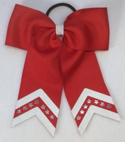 Small Red with White Glitter and Bling Sport Hair Bow