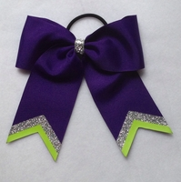 Small Regal Purple With Silver and Lime Glitter Tips
