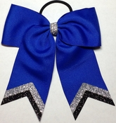 Small Royal Blue with Silver and Black Glitter Tip Bow