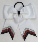 Small White with Silver Copper and Black Glitter Tip Bow