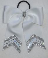 Small White with Silver Glitter and Bling Sport Hair Bow