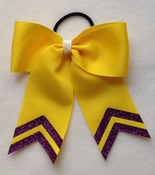 Small Yellow with Purple Glitter Tip Sport Hair Bow
