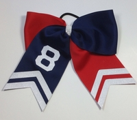 Team bow Half Navy Half Red with Number and Glitter Tips