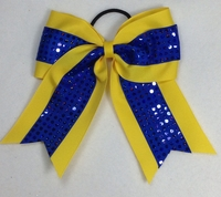 Yellow and Royal Blue Holodot Sport Bow
