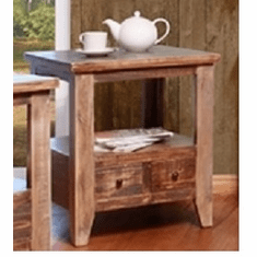 Antique Multicolor 2-Drawer End Table