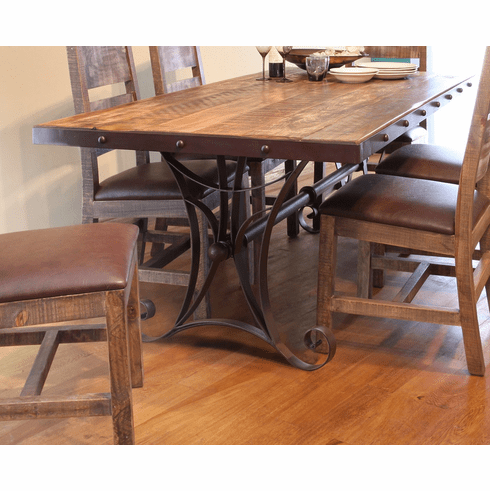 "Antique Multicolor 79"" Dining Table with Iron Base"