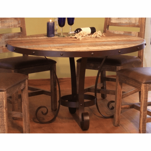 Antique Multicolor Round Dining Table