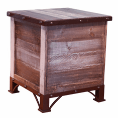 Antique Trunk Storage End Table