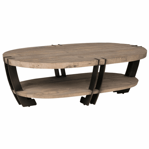 Oval Coffee Table With Shelf.Classic Home Rustic Marcelo Oval Coffee Table