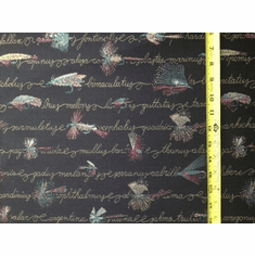 Fly Pattern Black Fabric