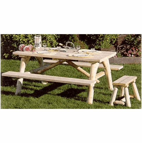 Amazing Log Picnic Table W Attached Benches Ibusinesslaw Wood Chair Design Ideas Ibusinesslaworg