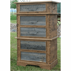 Rustic Barnwood/Alder Five-Drawer Stacked Chest