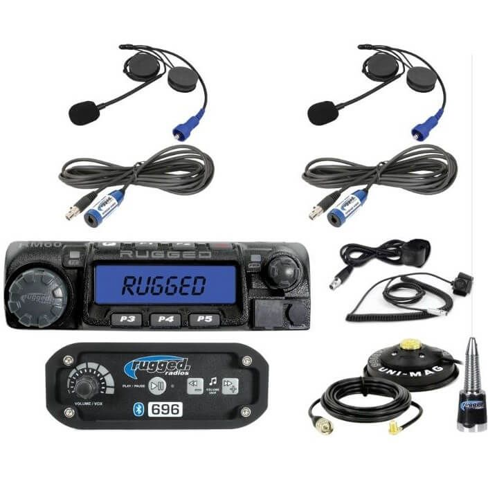 Rugged Radios RM60-V Black 60 Watt Two Way VHF Mobile Radio with Hand Mic Mounting Bracket and Mounting Hardware