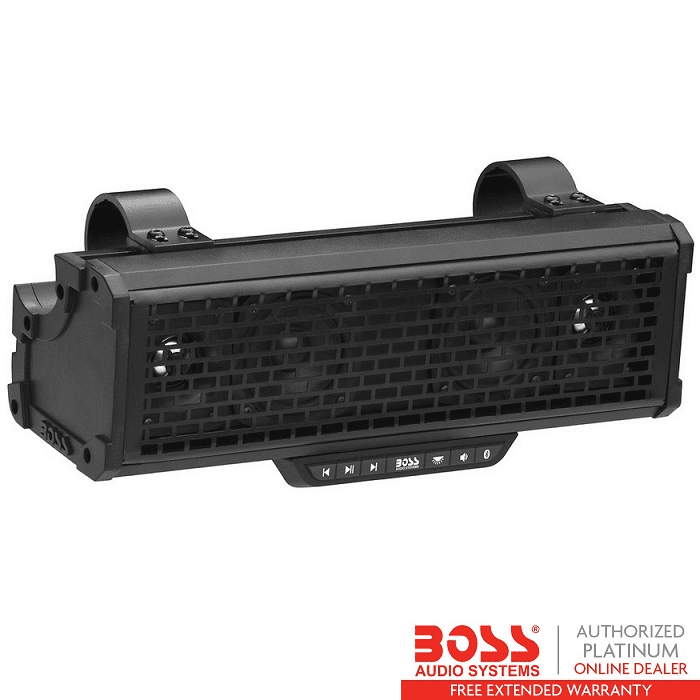 Bluetooth Audio Streaming 1 Inch Horn Loaded Tweeters BOSS Audio BRT14A ATV UTV Sound Bar System 3 Inch Full Range Speakers Built-in Amplifier Weatherproof IPX5 Rated 14 Inches Wide
