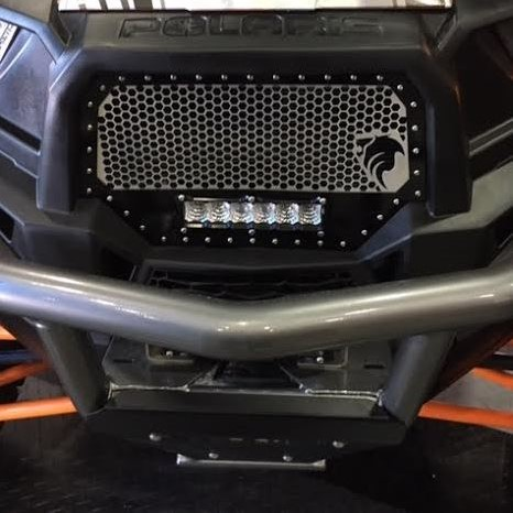 Heretic Studio Raw Aluminum Alpha 3 Piece Grill W 6 Inch Billet Wraith Led Light Bar 2014 18 Polaris Rzr Xp 1000 Xp Turbo