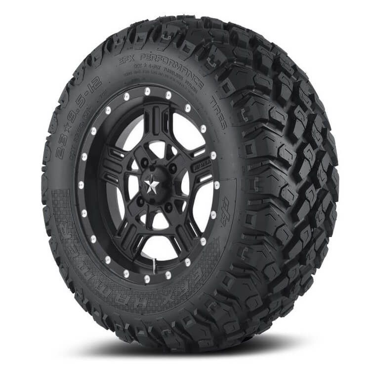 MSA M32 Axe Satin Black Wheels w| EFX Hammer Tires - Polaris Ranger 150