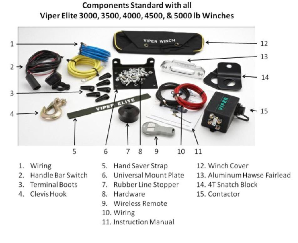 MotoAlliance VIPER Elite ATV//UTV Winch 4000lb with 40 feet GREEN Synthetic Rope and Wireless Remote