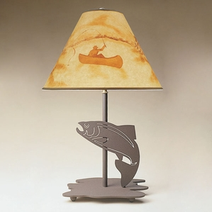 23 Inch Table Lamp with Fish