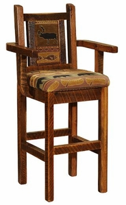 Artisan Barnwood Upholstered Bar Stool with Arms