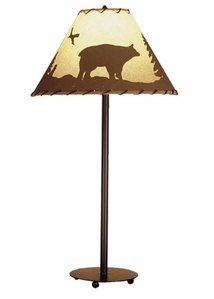Bear In The Woods Printed Parchment & Rawhide Table Lamp