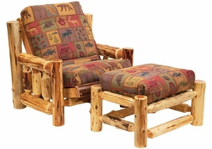 Cedar Futon Chair With Ottoman Lodge Craft