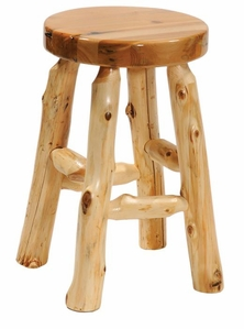 Cedar Round Bar Stool w/Liquid Glass Finished Seat