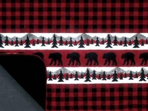 Denali Bear Plaid Border Rustic Throw Blanket Lodge Craft
