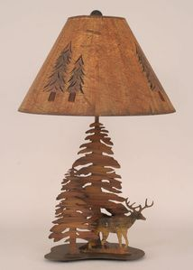Double Pine Tree Deer Table Lamp