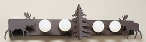 Four Bulb 3D Tree Vanity with Moose