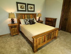 Grinnell Glacier Reclaimed Barnwood Bed with Rustic Trim and Cap