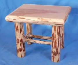 Log Edged Birch Top End Table 24""