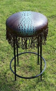 Montana Ranch Spine Turquoise Iron Barstool with Fringe
